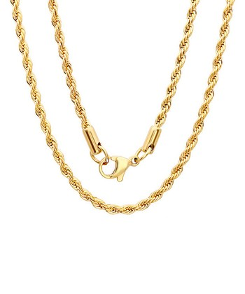 Yellow Gold Rope Chain Necklace