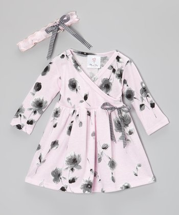 Pink & Black Rose Organic Dress & Headband - Infant & Toddler