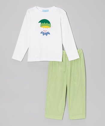 White Elf Tee & Green Gingham Pants - Toddler & Boys