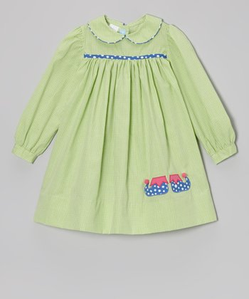 Green Gingham Elf Swing Dress - Infant & Toddler