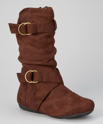 Brown Klein Double-Buckle Zip Boot