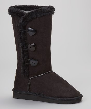 Black Heart Button Boot