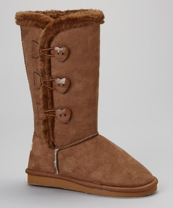 Chestnut Heart Button Boot