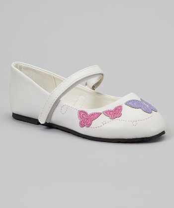 White Butterfly Embroidered Mary Jane - Kids