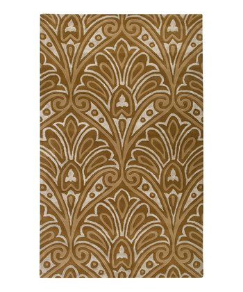 Tan & Ivory Flourish Wool Rug