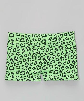 Malibu Sugar Neon Green Leopard Shorts - Girls
