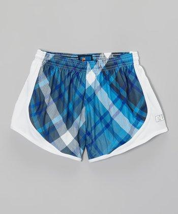 Fit 2 Win Sportswear Blue Plaid Distance Shorts - Girls