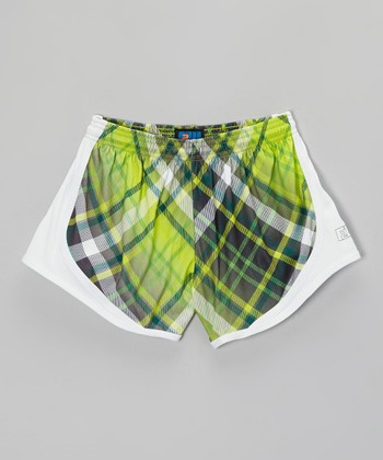 Fit 2 Win Sportswear Green Plaid Distance Shorts - Girls