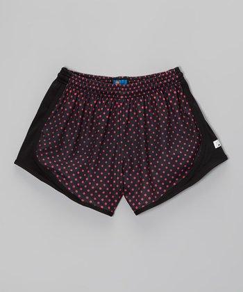 Fit 2 Win Sportswear Black & Pink Polka Dot Distance Shorts - Girls