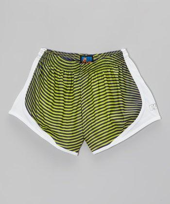 Fit 2 Win Sportswear Lime Stripe Distance Shorts - Girls