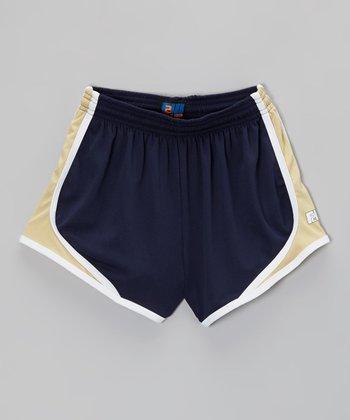 Fit 2 Win Sportswear Navy & Gold Marathon Shorts - Girls