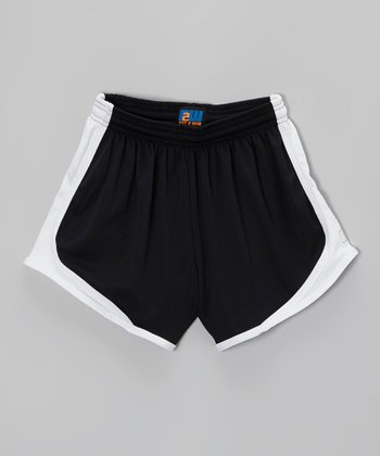 Fit 2 Win Sportswear Black & White Marathon Shorts - Girls