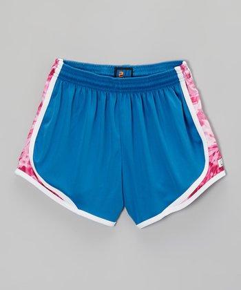 Fit 2 Win Sportswear Blue & Pink Sprinter Shorts - Girls