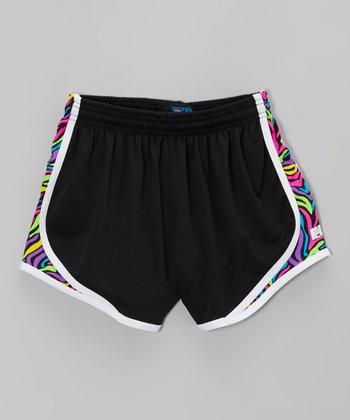 Fit 2 Win Sportswear Black Swirl Sprinter Shorts - Girls