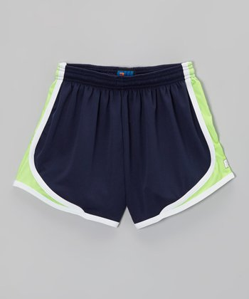 Navy & Neon Green Sprinter Shorts