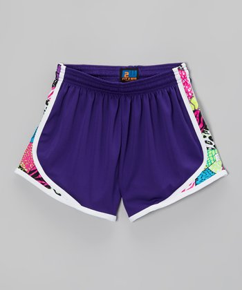Fit 2 Win Sportswear Purple Patchwork Sprinter Shorts - Girls
