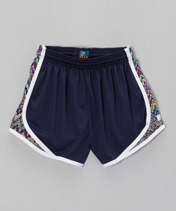 Fit 2 Win Sportswear Navy Crazy Zigzag Sprinter Shorts - Girls
