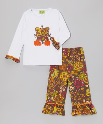 Pumpkin Patch Tee & Flower Dusk Ruffle Pants - Toddler & Girls