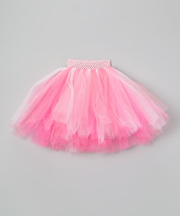 White & Pink Streamer Tutu - Infant, Toddler & Girls