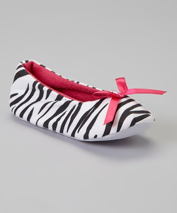 White & Fuchsia Zebra Bow Slipper