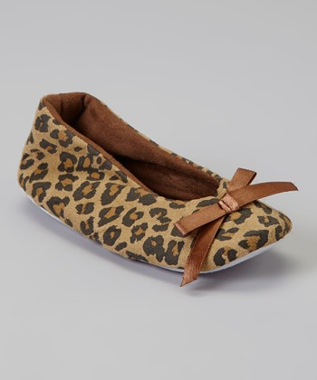Tan & Brown Leopard Bow Slipper