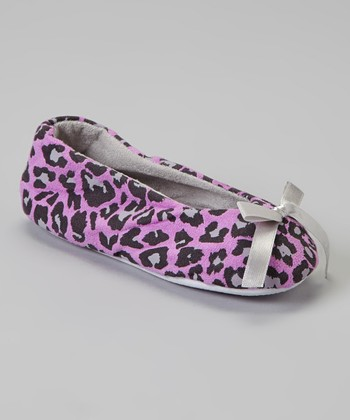 Light Pink & Gray Leopard Bow Slipper