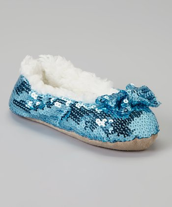 Light Blue Sequin Bow Slipper