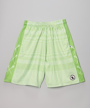 Lime Stripe Fragment Shorts - Boys
