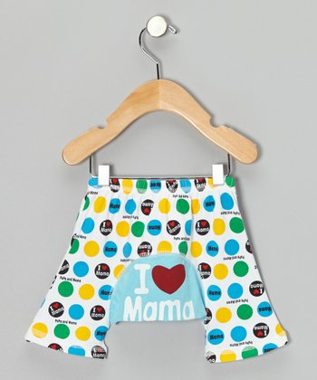 Blue & Yellow Polka Dot 'I Love Mama' Shorts - Infant