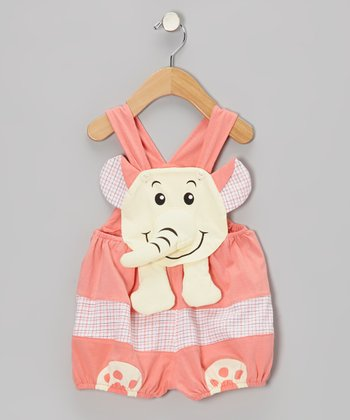 Pink Elephant Shortalls - Infant