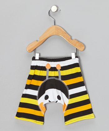 Yellow & Black Stripe Bumblebee Shorts - Infant