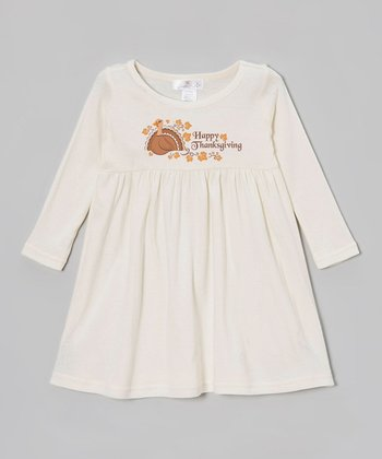 Tan 'Happy Thanksgiving' Dress - Infant