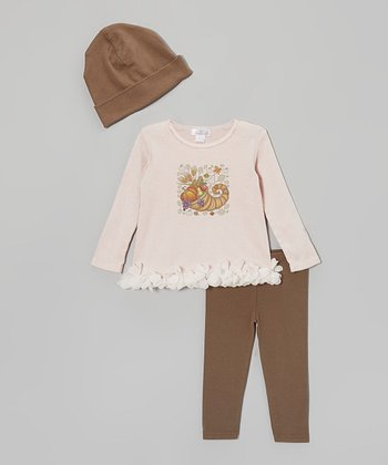 Brown Cornucopia Ruffle Tee Set - Infant