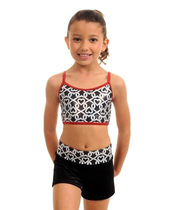 TumbleWear Black & Red Chained Hearts Sports Bra & Shorts - Girls