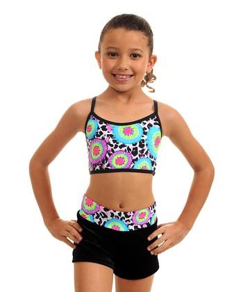 TumbleWear Blue & Green Tie Dye Sports Bra & Shorts - Girls