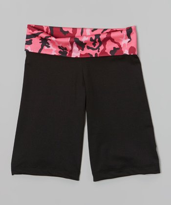 Black & Pink Camo Capri Yoga Pants - Toddler & Girls