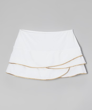 White & Gold-Trim Layered Skort - Girls