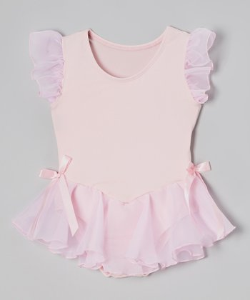 Light Pink Microfiber Angel-Sleeve Skirted Leotard - Girls