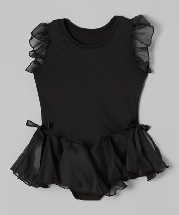 Black Microfiber Angel-Sleeve Skirted Leotard - Toddler & Girls