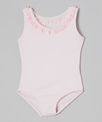 Pink Ribbon Ruffle Tank Leotard - Girls