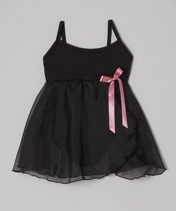 Black & Pink Bow Skirted Leotard - Toddler & Girls