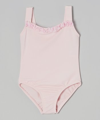 Pink Square Neck Ruffle Leotard - Girls