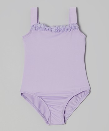 Lilac Ruffle Square Neck Camisole Leotard - Girls