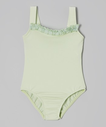 Mint Ruffle Square Neck Camisole Leotard - Toddler & Girls