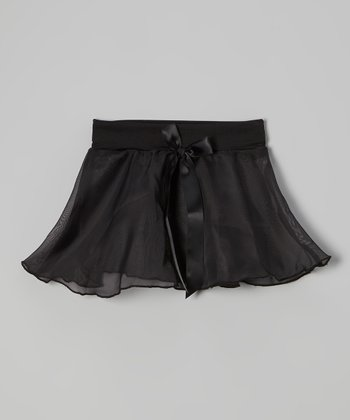 Black Bow Georgette Skirt - Girls