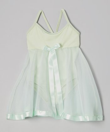 Mint Ribbon Babydoll Skirted Leotard - Toddler & Girls