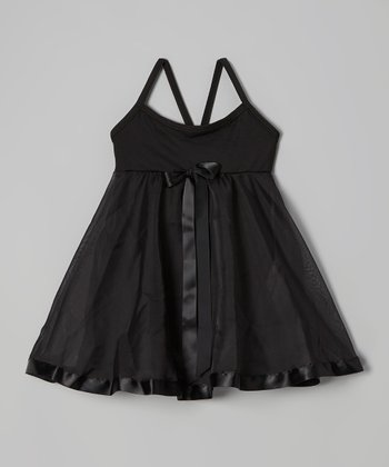 Black Ribbon Babydoll Skirted Leotard - Toddler & Girls