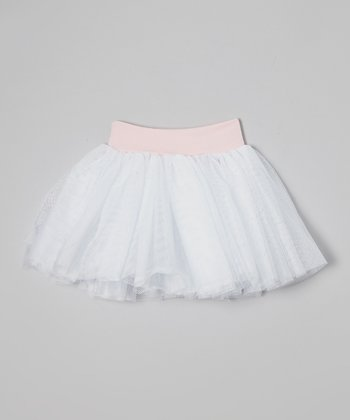 White & Pink Soft Tulle Tutu - Girls