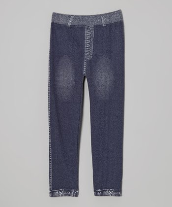 Washed Blue Jeggings - Girls