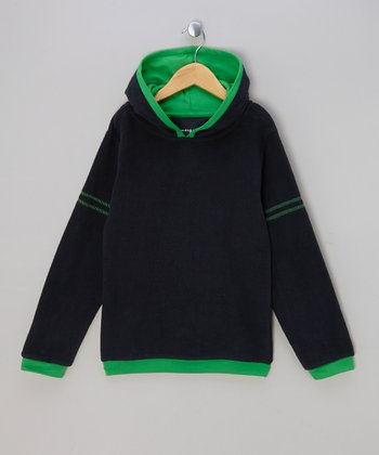 Navy & Green Stripe Organic Hoodie - Infant, Toddler & Kids